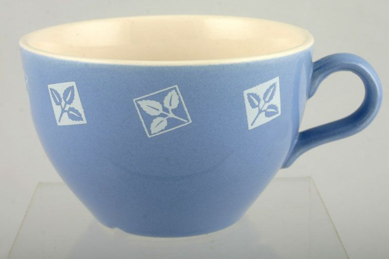 John Tams - White + Blue Leaves Set Within Squares - Teacup