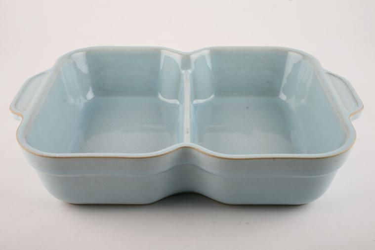 Denby - Blue Linen - Serving Dish - Oblong - divided