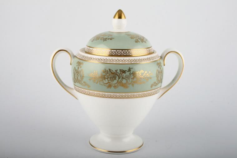Wedgwood - Columbia - Sage Green - Sugar Bowl - Lidded (Tea) - tall